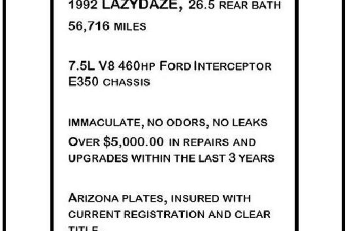 1992 Lazy Daze 26.5 RB E350, 1